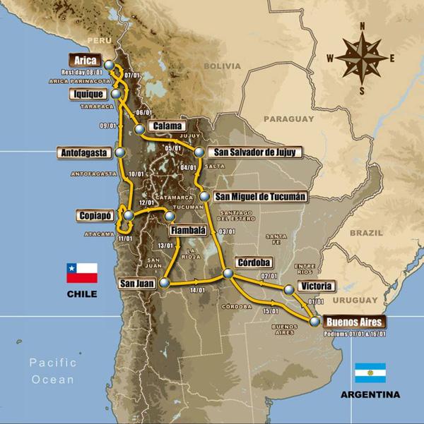 図4: ダカールラリー2011大会のルート